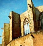 Kerk Santa Maria del Mar in Barcelona, het schilderen Stock Afbeelding