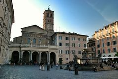 Kerk Santa Maria in Trastevere, Rome Italië stock afbeelding