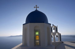 Kerk in Santorini royalty-vrije stock afbeelding