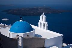 Kerk in Santorini, Griekenland Stock Foto