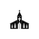 Kerk stevig pictogram, godsdienst de bouwelementen royalty-vrije illustratie