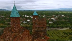 Kerk van Aartsengels in Kakheti, architecturaal oriëntatiepunt, historische erfenis stock footage