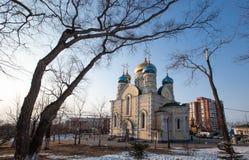 Kerk van bogoroditsi van Pokrova Presvyatoy in Vladivostok Royalty-vrije Stock Fotografie