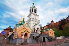 Kerk van de Geboorte van Christus van John de Voorloper in Nizhny Novgorod stock foto's