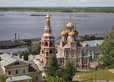 Kerk van de Geboorte van Christus van Onze Dame (Stroganov-Kerk) in Nizhny Novgorod Rusland stock afbeeldingen