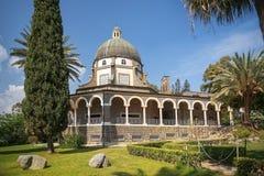Kerk van de Gelukzaligheden, Overzees van Galilee, Israël Stock Afbeeldingen