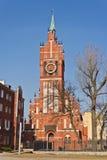 Kerk van de Heilige familie, neogotische 20ste eeuw. Kaliningrad (tot 1946 Koenigsberg), Rusland Stock Foto
