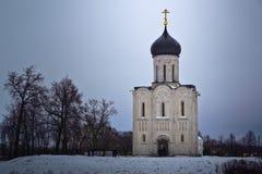 Kerk van de Interventie op Nerl stock foto