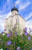 Kerk van de Interventie van de Vergine Santa op de Nerl-Rivier op de heldere de zomerdag Stock Afbeeldingen