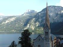 Kerk van de stad van Hallstatt Stock Foto's