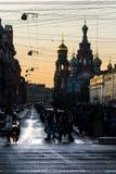 Kerk van de Verlosser op Bloed, de witte nacht in St. Petersburg Royalty-vrije Stock Fotografie