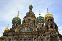 Kerk van de Verlosser op Bloed in heilige-Petersburg Stock Foto