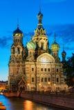 Kerk van de Verlosser op Gemorst Bloed bij nacht in St. Petersburg Stock Afbeelding
