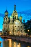 Kerk van de Verlosser op Gemorst Bloed bij nacht in St. Petersburg Stock Foto's