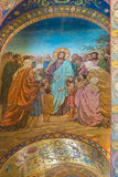 Kerk van de Verlosser op Gemorst Bloed het mozaïek schildert een scène F af Stock Foto