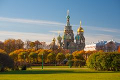 Kerk van de Verlosser op Gemorst Bloed, Rusland Stock Fotografie