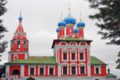 Kerk van Dimitry op Bloed Het Kremlin in Uglich Stock Foto