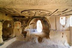 Kerk van Drie Kruisen in Roze vallei Cappadocia Turkije stock foto