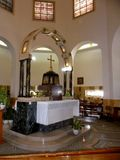 Kerk van Gelukzaligheid, Tiberias, Onderstel van Gelukzaligheid, Israël royalty-vrije stock afbeelding