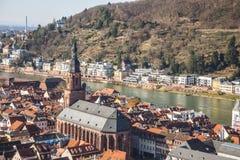 Kerk van Heilig geest-Heidelberg Duitsland stock afbeeldingen