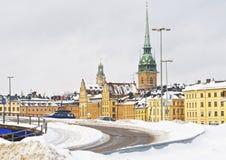 Kerk van Heilige Clare en de winter Gamla Stan in Stockholm Royalty-vrije Stock Afbeelding