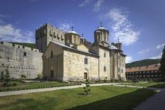 Kerk van Heilige Drievuldigheid binnen Klooster Manasija stock afbeelding