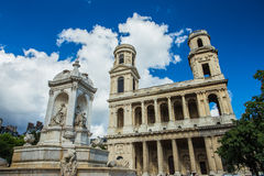Kerk van Heilige Sulpice in Parijs, Frankrijk Stock Fotografie