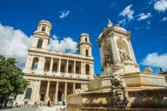 Kerk van Heilige Sulpice in Parijs, Frankrijk Royalty-vrije Stock Afbeelding