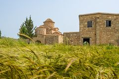 Kerk van het de 6de eeuw de Byzantijnse Klooster van Panayiakanakaria achter gersthop royalty-vrije stock afbeelding