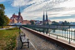 Kerk van het Heilige Kruis en St Bartholomew in Wroclaw, Polen royalty-vrije stock foto's