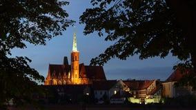 Kerk van het Heilige Kruis op Tumski-eiland, Wroclaw, Polen stock foto's