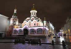 Kerk van Kazan Godsmoeder in Rood Vierkant, Moskou, 's nachts Stock Foto