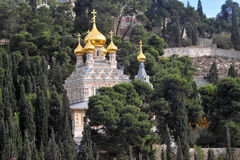 Kerk van Mary Magdalene in Onderstel van Olijven in Jeruzalem, Israël Royalty-vrije Stock Fotografie