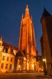 Kerk van Onze Dame bij nacht Stock Foto