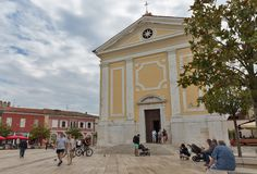 Kerk van Onze Dame van Engelen Vrijheidsvierkant, Porec, Crioatia Royalty-vrije Stock Foto