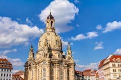Kerk van onze Dame (Frauenkirche) in Dresden Stock Afbeelding