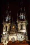 Kerk van onze dame vóór Tyn Royalty-vrije Stock Foto's
