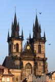 Kerk van Onze Dame vóór Tyn, Praag Stock Afbeeldingen