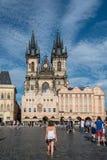 Kerk van onze Dame vóór Tyn in Praag Stock Fotografie