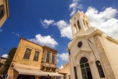 9 9 2016 - Kerk van Onze Dame van Engelen en oude gebouwen in Rethymno Stock Afbeelding