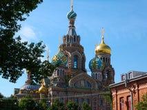 Kerk van Onze Verlosser op het Gemorste Bloed in Heilige Petersburg, Rusland Stock Foto