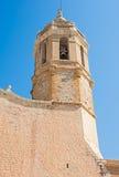 Kerk van Sant Bartomeu & Santa Tecla in Sitges, Spanje Stock Foto's