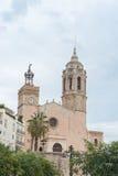 Kerk van Sant Bartomeu & Santa Tecla in Sitges, Spanje Royalty-vrije Stock Afbeelding