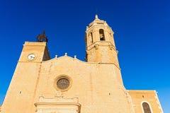 Kerk van Sant Bartomeu & Santa Tecla in Sitges, Spanje Stock Fotografie