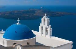 Kerk van Santorini, Griekenland Stock Foto's