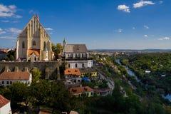 Kerk van Sinterklaas en St Wenceslas Chapel in Znojmo, Zuiden Royalty-vrije Stock Foto's