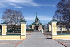 Kerk van Sinterklaas, het beginnen van 20ste eeuw, Rusland, Slyudyanka Royalty-vrije Stock Fotografie