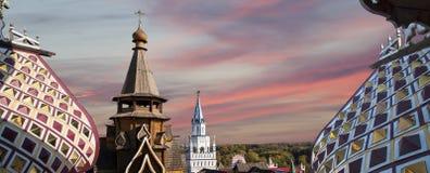 Kerk van Sinterklaas in Izmailovsky het Kremlin het Kremlin in Izmailovo, Moskou, Rusland stock afbeelding