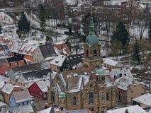 Kerk van St Bartholomäus in Pegnitz Mening van observatietoren Stock Fotografie
