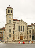 Kerk van St Joseph in Sarajevo In de schaduw gestelde hulpkaart met belangrijke stedelijke gebieden Royalty-vrije Stock Afbeeldingen